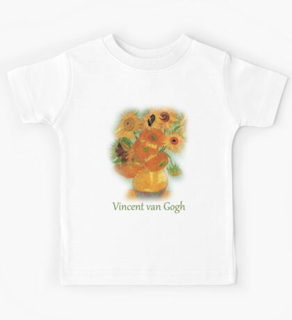 Vase with Twelve Sunflowers, Vincent van Gogh Kids Tee