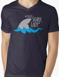 Crazy Shark lady Mens V-Neck T-Shirt