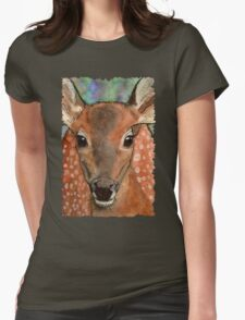 Deer Fawn Wildlife Water-colour Design Womens Fitted T-Shirt