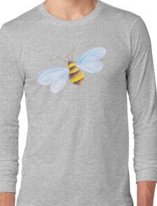 Cute honey bee whimsical watercolor art Long Sleeve T-Shirt
