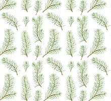 Watercolor pine branches pattern by helga-wigandt