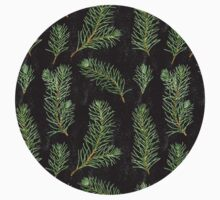 Watercolor pine branches pattern on black background T-Shirt