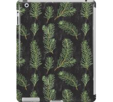 Watercolor pine branches pattern on black background iPad Case/Skin