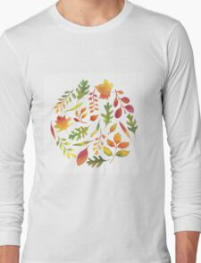 Watercolor autumn leaves pattern Long Sleeve T-Shirt
