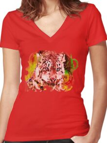Leopard Ink Women's Fitted V-Neck T-Shirt