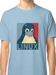 Linux Tux penguin poster head red blue  Classic T-Shirt
