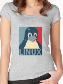 Linux Tux penguin poster head red blue  Women's Fitted Scoop T-Shirt