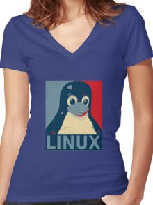Linux Tux penguin poster head red blue  Women's Fitted V-Neck T-Shirt