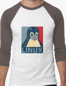 Linux Tux penguin poster head red blue  Men's Baseball ¾ T-Shirt