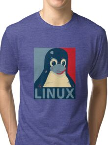 Linux Tux penguin poster head red blue  Tri-blend T-Shirt