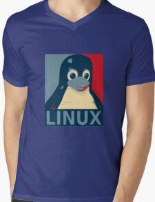 Linux Tux penguin poster head red blue  Mens V-Neck T-Shirt