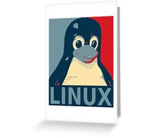 Linux Tux penguin poster head red blue  Greeting Card