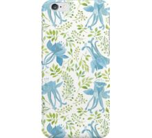 Watercolor leaves and blue flowers pattern iPhone Case/Skin