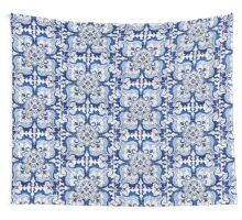 Antique Azulejo Tile Floral Pattern Wall Tapestry