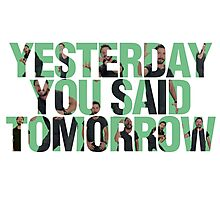 Yesterday you said tomorrow - Shia Labeouf Photographic Print