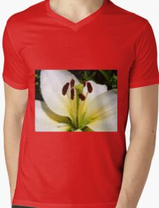 Looking into the Heart of the Lily Mens V-Neck T-Shirt