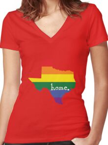 Texas gay pride vector state sign Women's Fitted V-Neck T-Shirt