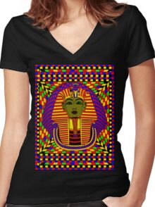 The King of Tut Pop Art Women's Fitted V-Neck T-Shirt