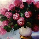 Hydrangea with Shadow Flowers, in Ceramic Vase by Cathy Amendola