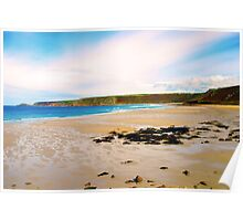 sandy beach in Cornwall Poster