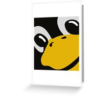 linux tux penguin eyes Greeting Card