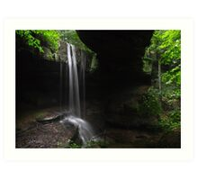 Natural rock bridge and waterfall Art Print