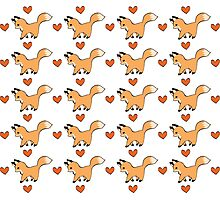 Cute Red Fox and Hearts Pattern Photographic Print