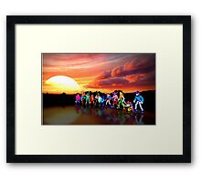 Sunset Ridders retro pixel art Framed Print