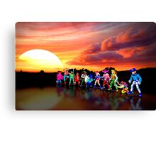 Sunset Ridders retro pixel art Canvas Print