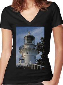 Sugarloaf Point Lighthouse Women's Fitted V-Neck T-Shirt