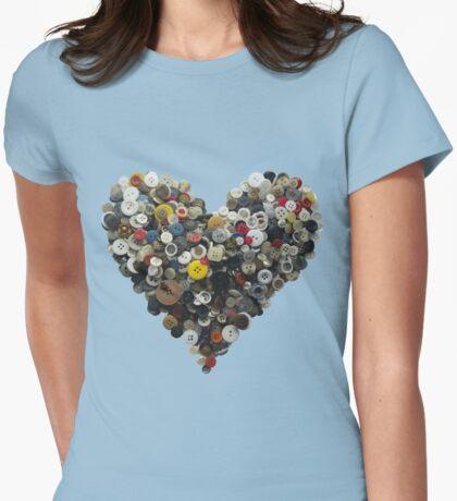 Button heart (not Moon) Womens Fitted T-Shirt