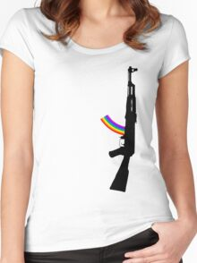 Machine Gun Silhouette - AK-47 Edition Women's Fitted Scoop T-Shirt