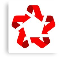 recycle red star Symbol of new communism era  Canvas Print