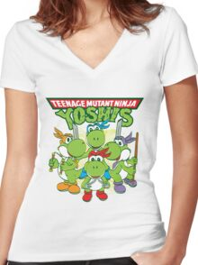 Teenage Mutant Ninja Yoshis Women's Fitted V-Neck T-Shirt