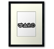 TRIQUETRA - BLACK METAL WHITE SOLID STICKER Framed Print