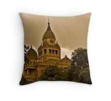 The Ominous Denton Courthouse Throw Pillow