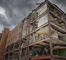 Demolition of the The Mayfair Under Stormy Skies by Myron Watamaniuk