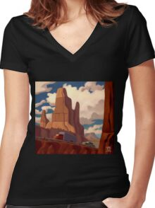 Red Rock Country Women's Fitted V-Neck T-Shirt