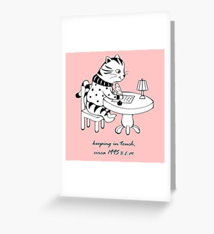 Time Before Email (Deep Pink) Greeting Card
