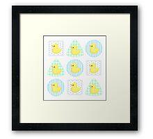 Rubber Duckies (White/Blue) Framed Print