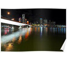 Brisbane City & River By Night. Queensland, Australia. Poster