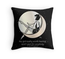 Gatsby Girl swinging on the Moon with F Scott Fitzgerald Quote Throw Pillow