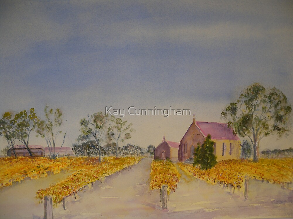 Vineyard and church. by Kay Cunningham