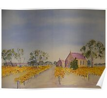 Vineyard and church. Poster