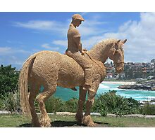 Sculptures by the sea - Bondi - Straw Horseman Photographic Print