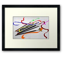 Artist´s brushes and painting Framed Print