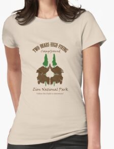 Two-Bears High Fiving Campground Womens Fitted T-Shirt