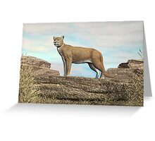 Cougar on the Rocks Greeting Card