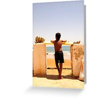 Boy Watching Surf Greeting Card