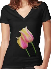 Two Bright Tulips Women's Fitted V-Neck T-Shirt